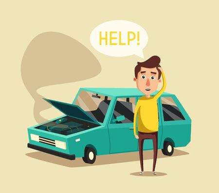 overheat: Broken car. Vector cartoon illustration. Need help. Car with open hood. Unhappy man. Human character