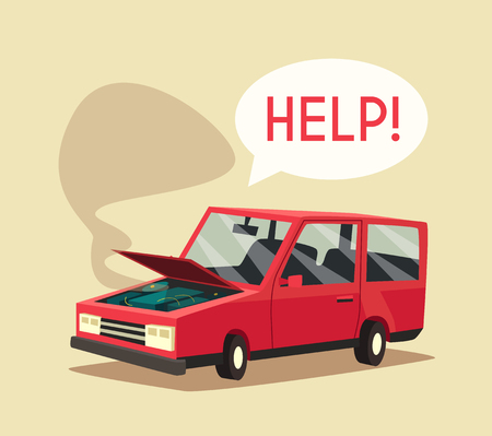undercarriage: Broken car. Vector cartoon illustration. Need help. Car with open hood