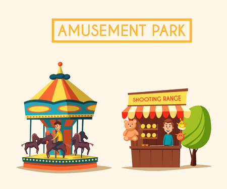 Amusement park theme. Cartoon vector illustration. Vintage style. Set of attractions. Icon collection. Funfair. Good emotions Çizim