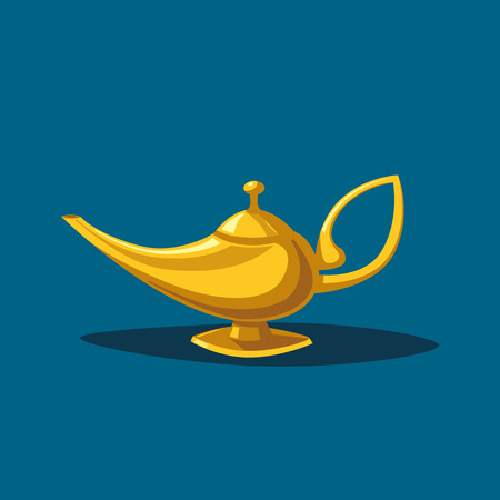fable: Golden magic lamp. Fable. Arabian Fairy tale. Success. Wealth concept. Cartoon vector illustration. Three wishes. East culture