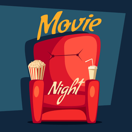 home cinema: Movie night. Home cinema watching. Cartoon vector illustration. Red sofa. Web, banner. Popcorn, cola and 3d glasses. Vintage style. Food and drink Illustration