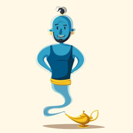 fable: Genie coming out of a magic lamp. Cartoon vector illustration. Persian culture. Old fable