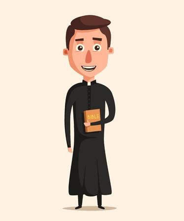 sotana: joven sacerdote católico. ilustración vectorial de dibujos animados. La predicación en la iglesia. santo padre en bata. Papa con la biblia. La religión y el tema de la iglesia. diseño de la profesión Vectores