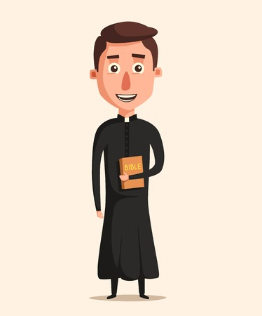 pastor: Young catholic priest. Cartoon vector illustration. Preaching at church. Holy father in robe. Pope with bible. Religion and church theme. Profession design Illustration