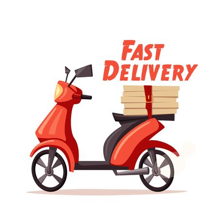 Fast and free delivery. Vector cartoon illustration. Vintage style. Food service. Red scooter. Retro bike. Stock fotó - 67676524
