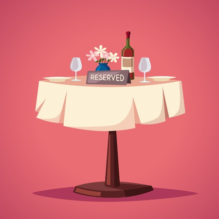 wedding table setting: Reserved sign on the table in restaurant. Cartoon vector illustration. Dinner date. Celebration at the cafe. Food and drink theme. Romantic evening.