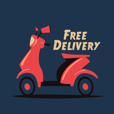 Fast and free delivery. Vector cartoon illustration. Vintage style. Food service. Retro bike. 矢量图像