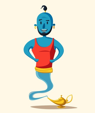 fable: Genie of the lamp. Cartoon vector illustration. Miracle. Old fable. Arabic culture Illustration