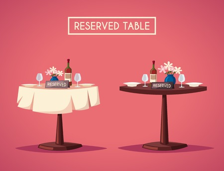 dinner date: Reserved sign on the table in restaurant. Cartoon vector illustration. Dinner date. Celebration at the cafe. Food and drink theme. Romantic evening.
