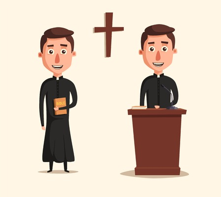 pope: Young catholic priest. Cartoon vector illustration. Preaching at church. Holy father in robe. Pope with bible. Religion and church theme. Profession design Illustration