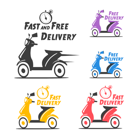 Snelle en gratis levering. Vector cartoon illustratie. Vintage-stijl. Food Service. Retro fiets.