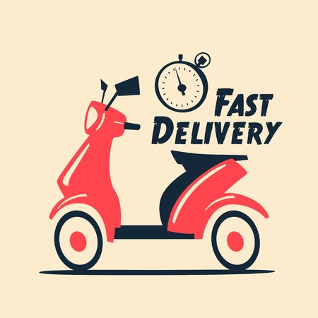 Fast and free delivery. Vector cartoon illustration. Vintage style. Food service. Retro bike. Illustration