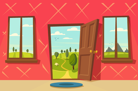 Geopende deur. Valley landschap. Cartoon vector illustratie. Vintage poster. Welkom op de echte wereld. Retro stijl. View from the window