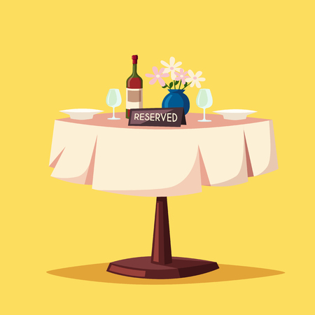 reserved: Reserved sign on the table in restaurant. Cartoon vector illustration. Dinner date. Celebration at the cafe. Food and drink theme. Romantic evening.