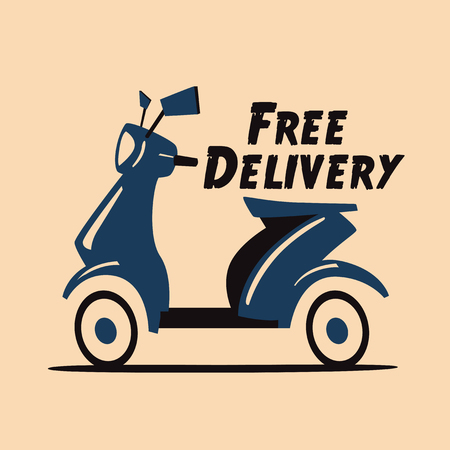 Fast and free delivery. Vector cartoon illustration. Vintage style. Food service. Retro bike. Vectores