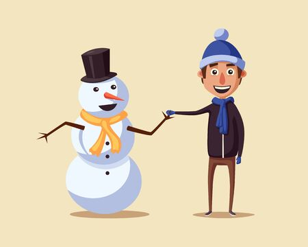 card making: Boy making cute snowman. Cartoon vector illustration. Vintage style. Friends Illustration
