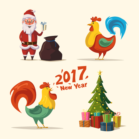 Funny Santa Claus holding gift in hand. Cartoon vector illustration. Christmas tree. New Year 2017 symbol. Fire Rooster