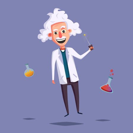 zero gravity: Crazy old scientist. Funny character. Cartoon vector illustration. Mad professor. Science experiment. Remote controller. Zero gravity