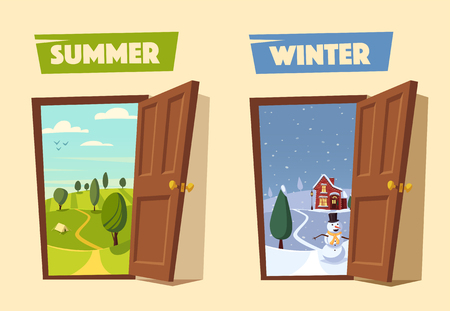 yule tide: Open door. Winter and summer. Valley landscape. Cartoon vector illustration. Vintage poster. Retro style