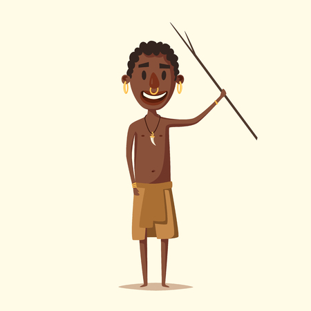 tribe: African man. Indigenous south American. Cartoon vector illustration. Aborigine. Culture and traditions people tribe