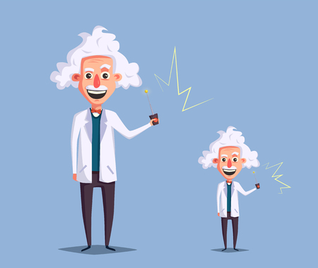 Crazy old scientist. Funny character. Cartoon vector illustration. Mad professor. Science experiment. Remote controller. Big and little man. Human reduction Illustration