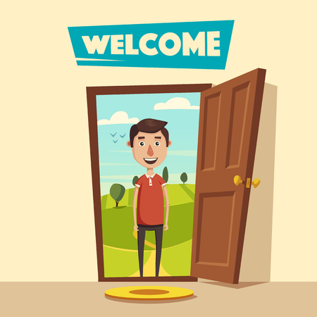Open door. Welcome. Cartoon vector illustration. Summer landscape. Vintage poster. Guest at the threshold