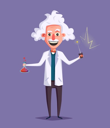madness: Crazy old scientist. Funny character. Cartoon vector illustration. Mad professor. Science experiment. Remote controller