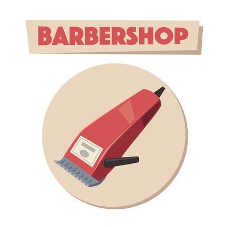 shearer: Barbershop. Shaving machine logo. Cartoon vector illustration. Illustration