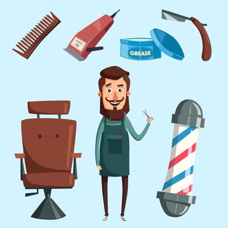 Cute barber character. Cartoon vector illustration