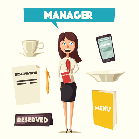 manager: Restaurant manager. Cartoon vectror illustration