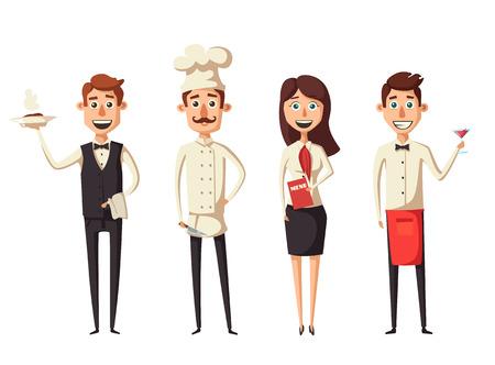 reserved: Restaurant team. Cartoon vector illustration.