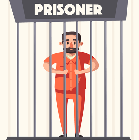 penitentiary: Prison with prisoner. Character design. Cartoon vector illustration