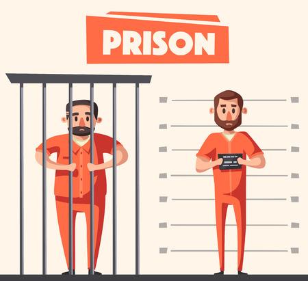 Gevangenis met gevangene. Personage ontwerp. Cartoon vectorillustratie