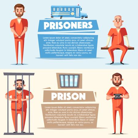 villain: Prison with prisoner. Character design. Cartoon vector illustration
