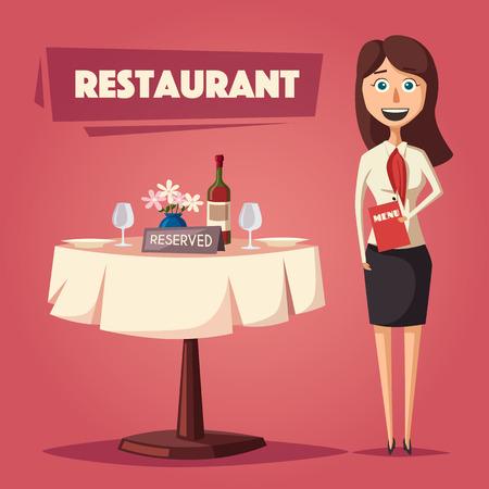Zarezerwowany stolik w restauracji. Ilustracja wektorowa kreskówka