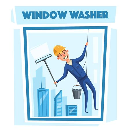 profesional: Profesional worker cleaning windows. Cartoon vector illustration