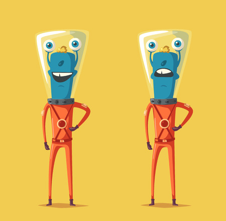 outer clothing: Friendly alien. Cartoon vector illustration