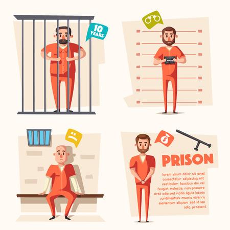 villain: Prison. Criminal in uniform. Cartoon vector illustration