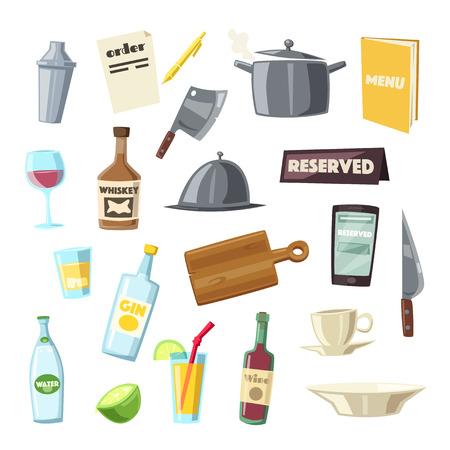 Set of kitchen equipment. Cartoon vector illustration