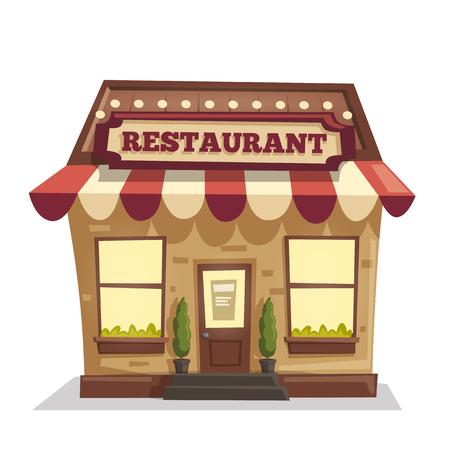 レストランやカフェ。外装の建物です。ベクトル漫画の実例  イラスト・ベクター素材