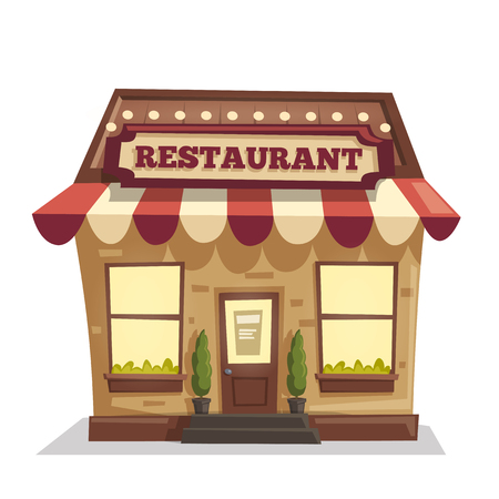 Restaurant or cafe. Exterior building. Vector cartoon illustration Illustration