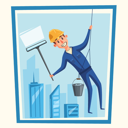 cleanliness: Profesional worker cleaning windows. Cartoon vector illustration