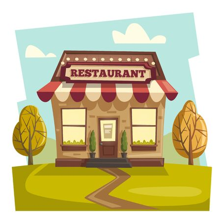Restaurant or cafe. Exterior building. Vector cartoon illustration Stock Photo