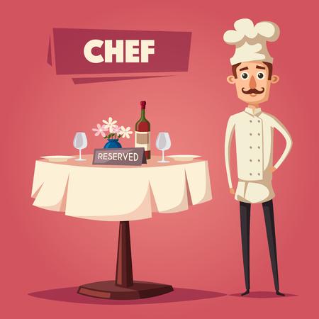 dinner date: Reserved sign on the table in restaurant. Cartoon vector illustration Illustration