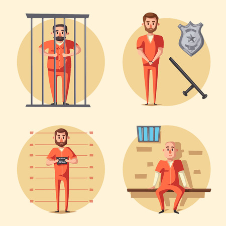 convicted: Prison. Criminal in uniform. Cartoon vector illustration