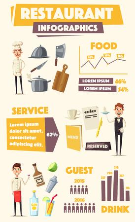catoon: Restaurant infographics. Vector cartoon illustration