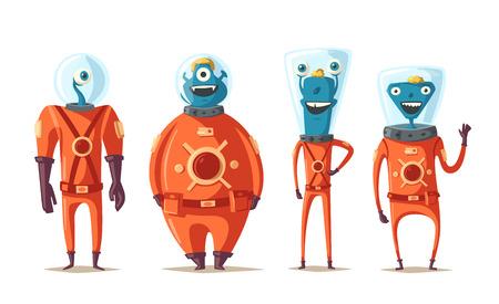 abduct: Friendly aliens. Cartoon vector illustration