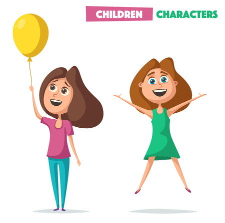 Children character. Cartoon vector illustration Çizim