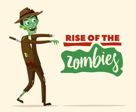 stabbed: Good and bad zombie character. Cartoon vector illustration