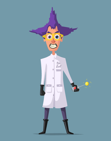 Crazy scientist. Funny character. Cartoon vector illustration. Illustration